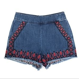 Blank NYC Wild Ones embroidered jean shorts - 26